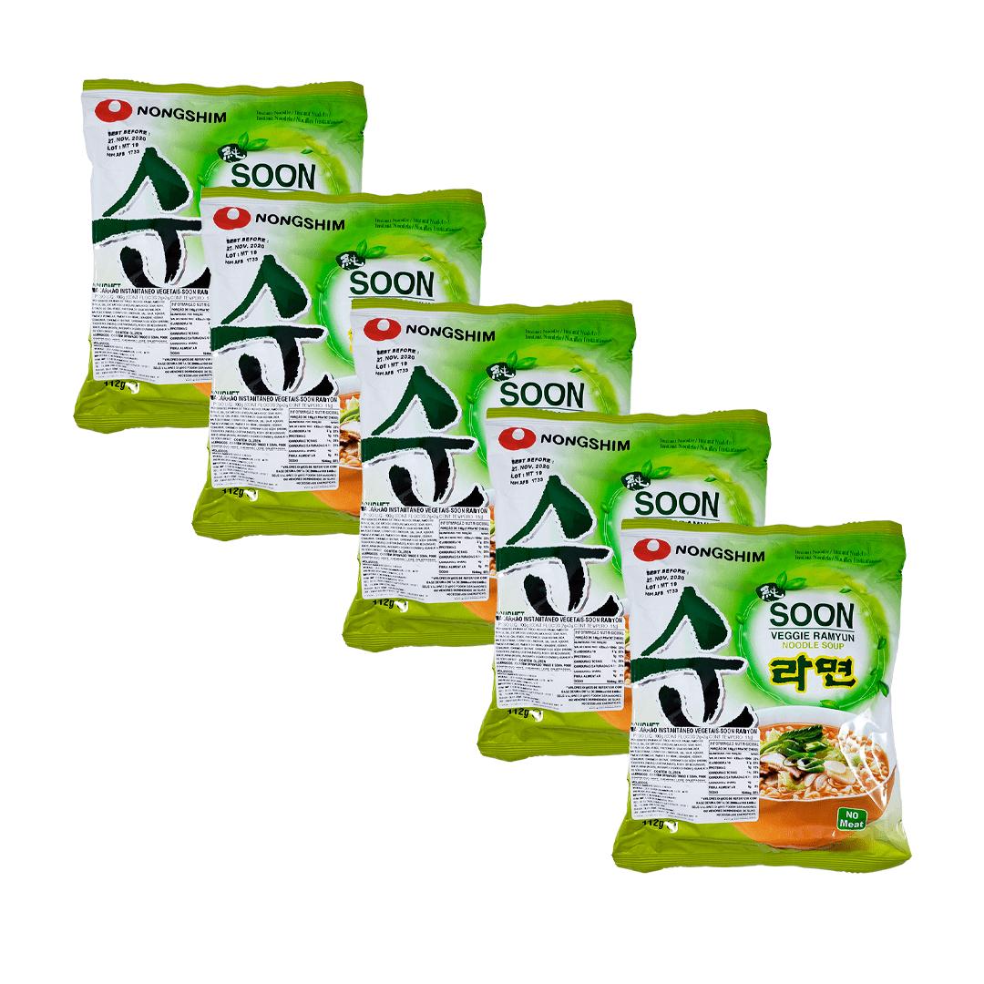 Lamen Coreano Vegetais Soon Veggie Ramyun Kit 5 unidades