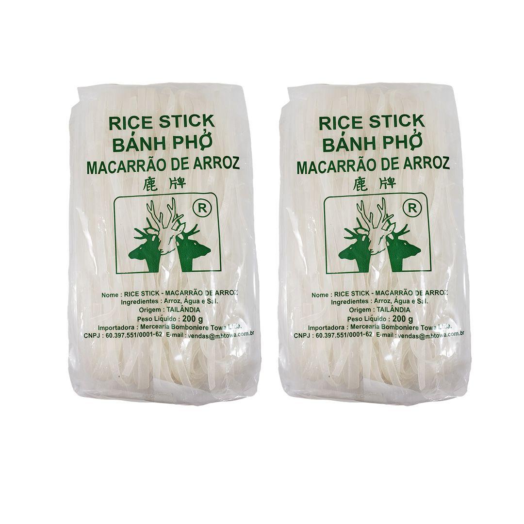 Macarrão de Arroz Tailandês Rice Stick Banh Pho Deer Brand 5mm 200g 2 unidades
