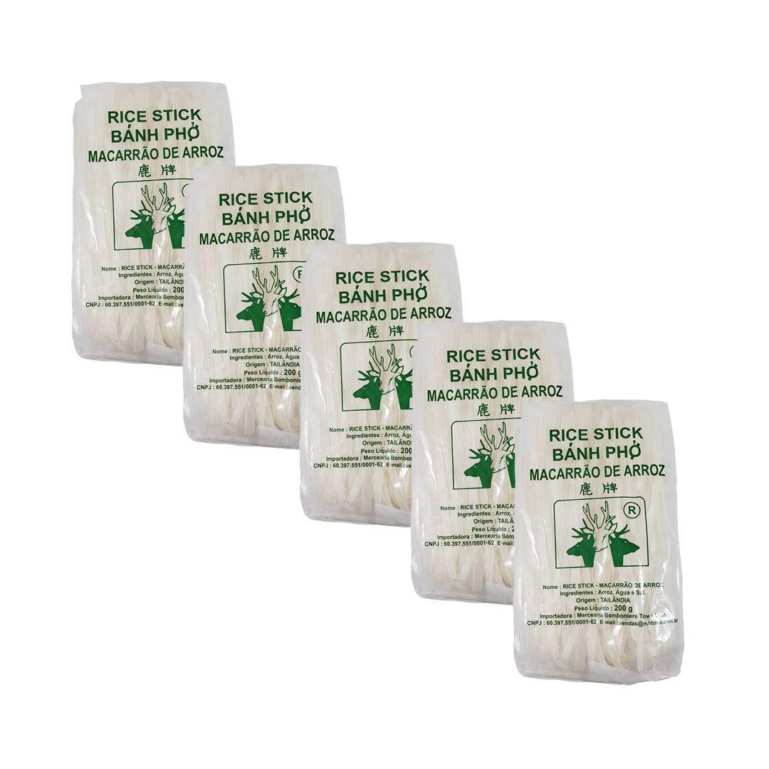 Macarrão de Arroz Tailandês Rice Stick Banh Pho Deer Brand 5mm 200g 5 unidades