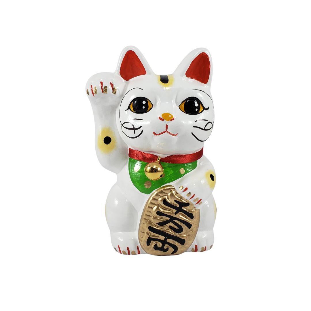 Maneki Neko Gato da Fortuna e da Sorte Grande 15cm Mão Direita
