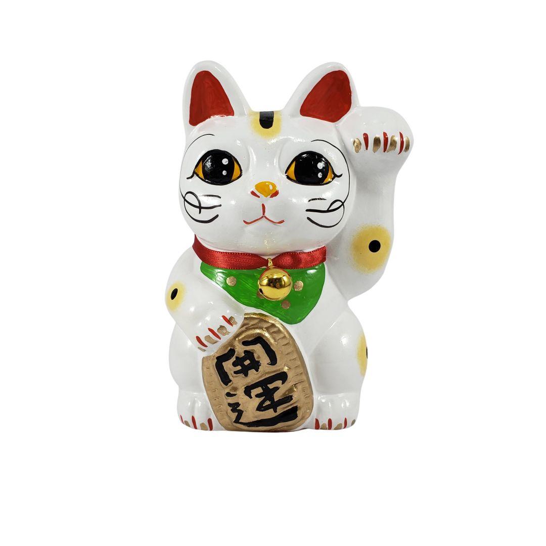 Maneki Neko Gato da Fortuna e da Sorte Grande 15cm Mão Esquerda
