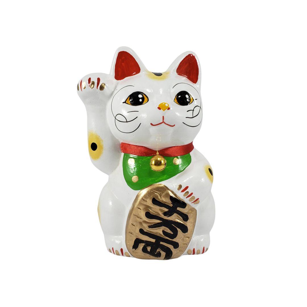 Maneki Neko Gato da Fortuna e da Sorte Médio 13cm Mão Direita