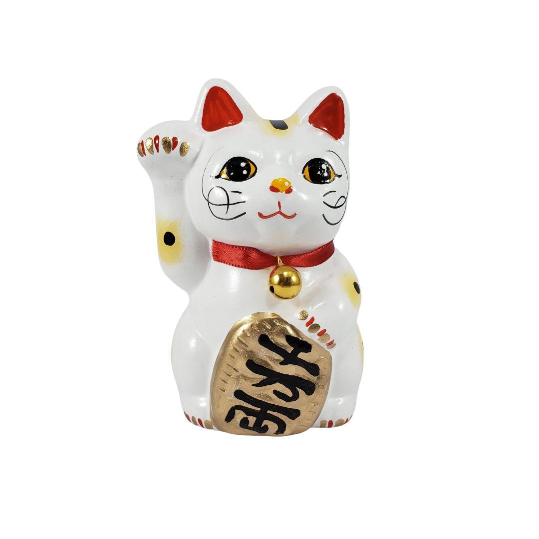 Maneki Neko Gato da Fortuna e da Sorte Pequeno 10cm Mão Direita