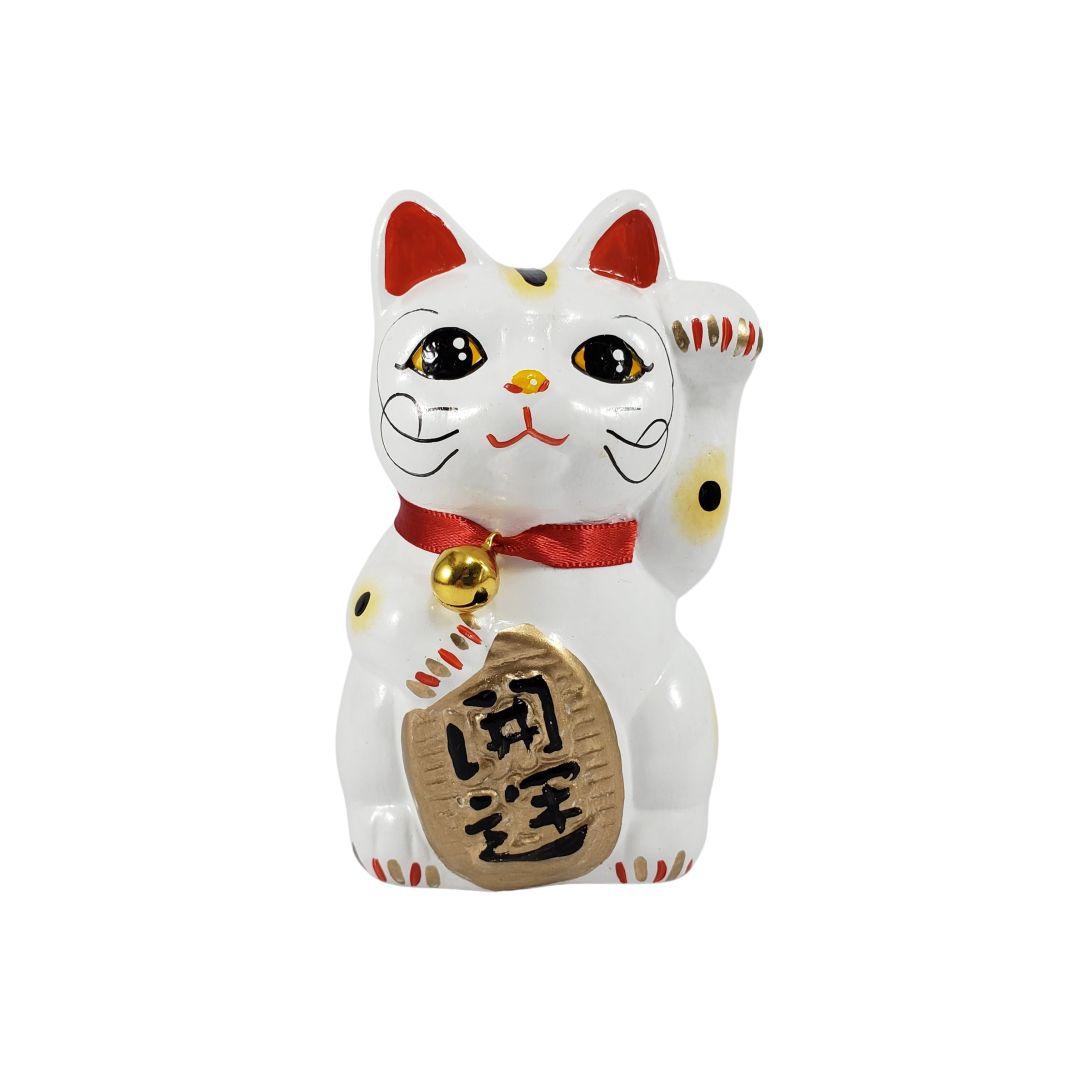 Maneki Neko Gato da Fortuna e da Sorte Pequeno 10cm Mão Esquerda