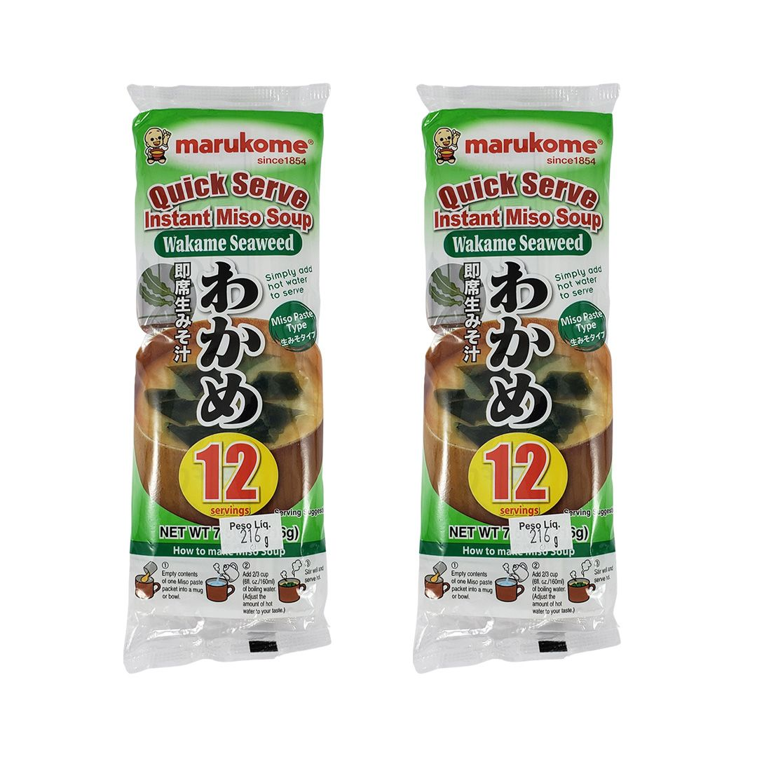Missoshiru Instantâneo Japonês com Wakame Marukome 216g 2 unidades