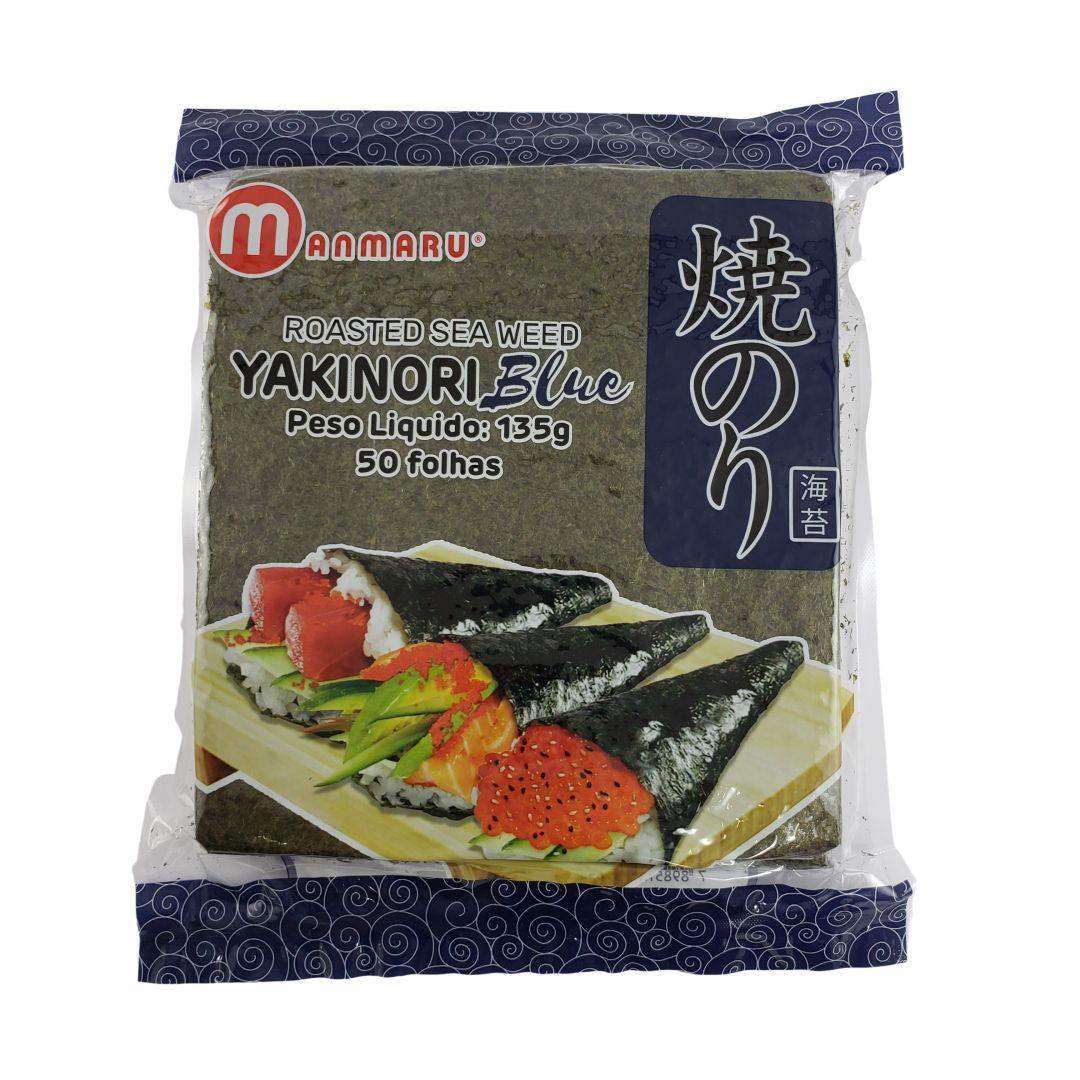 Nori Alga Marinha para Sushi e Temaki Yakinori Manmaru Blue 50 Folhas