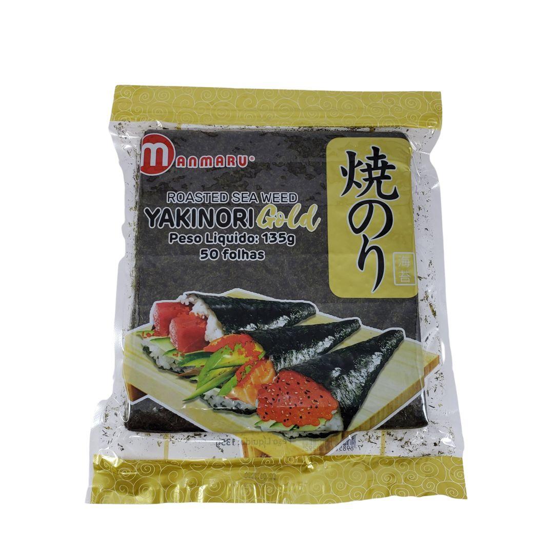 Nori Alga Marinha para Sushi e Temaki Yakinori Manmaru Gold 50 Folhas