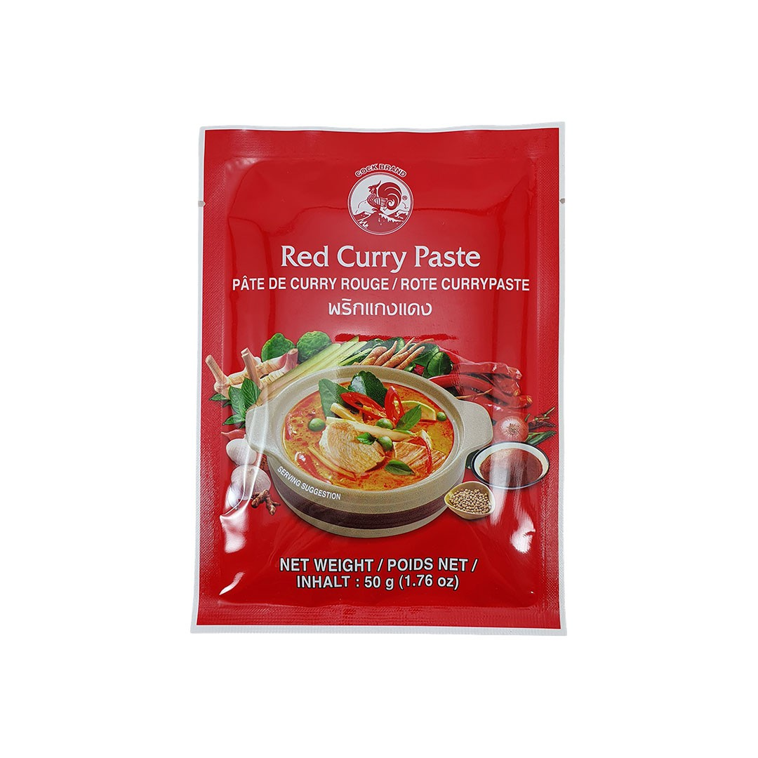 Pasta de Curry Vermelho Tailandês Red Curry Paste Cock Brand 50g