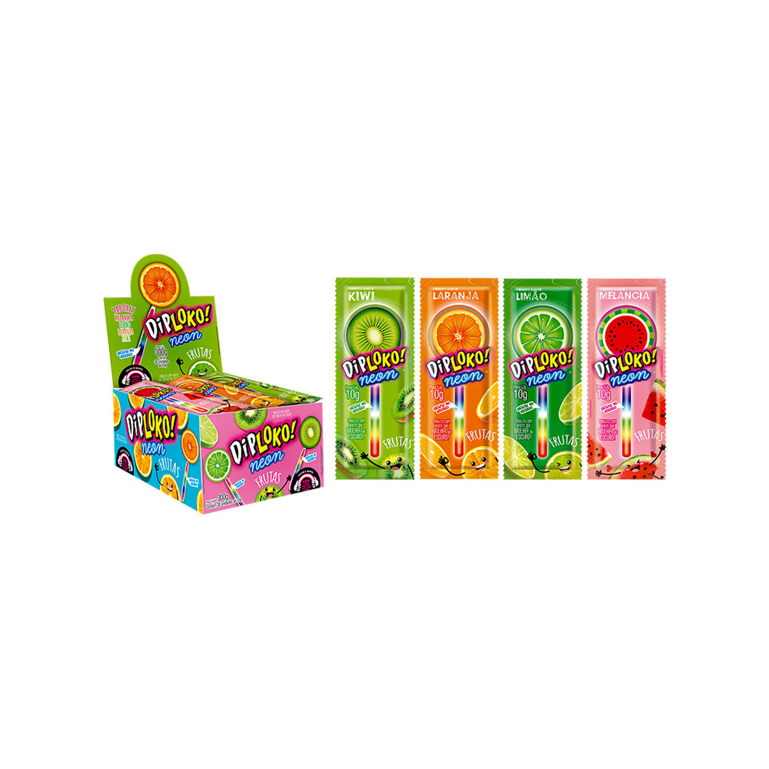 Pirulito Neon Frutas Diploko Melancia Limão Laranja Kiwi 30un 300g