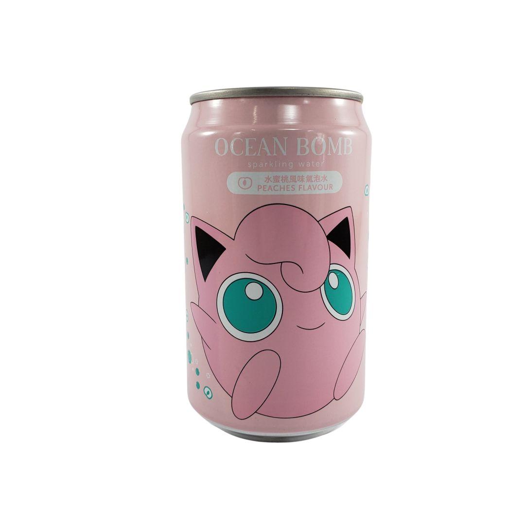 Refrigerante Pokemon Jigglypuff sabor Pêssego Ocean Bomb 330ml