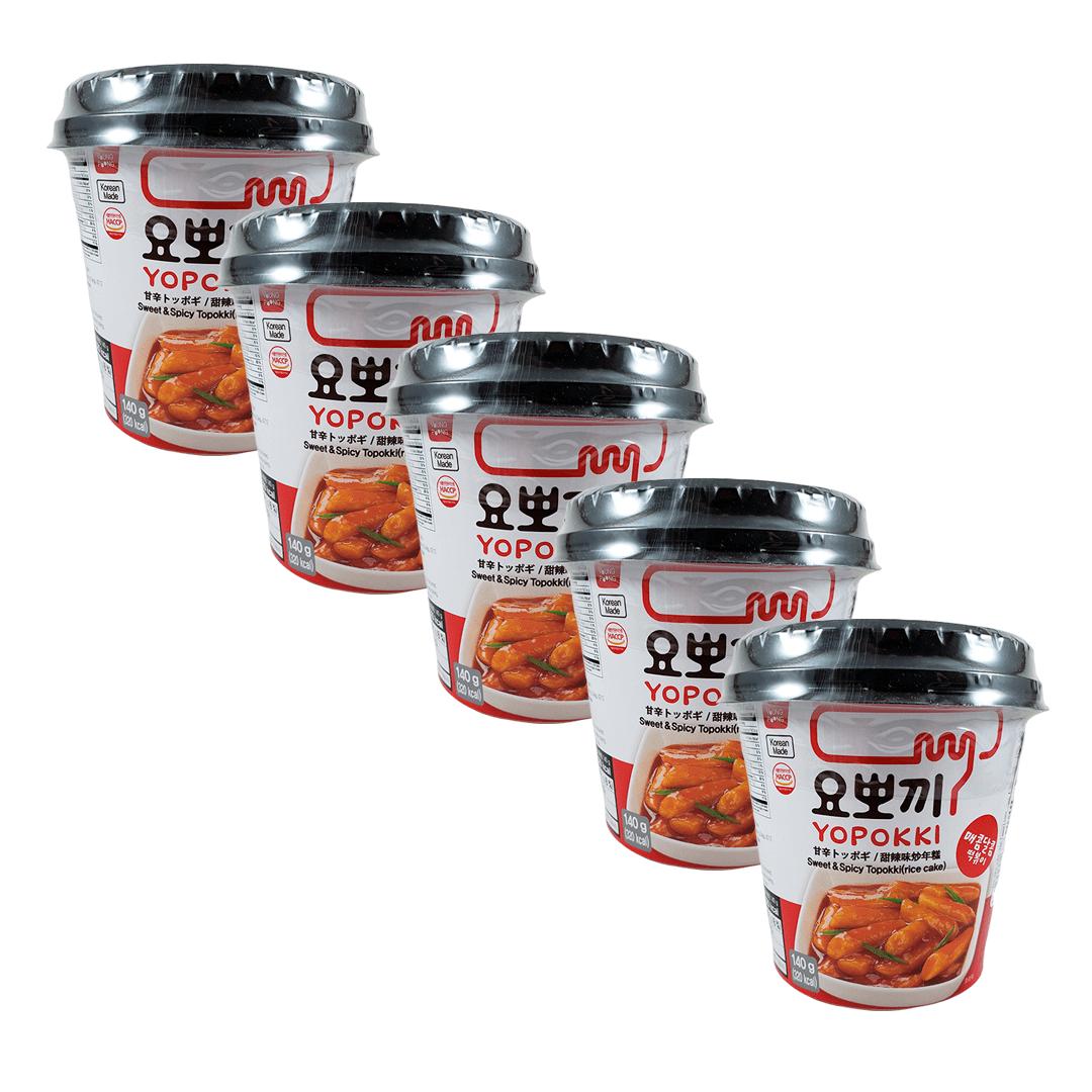 Topokki Bolinho de Arroz Coreano Original Adocicado Sweet & Spice Kit com 5