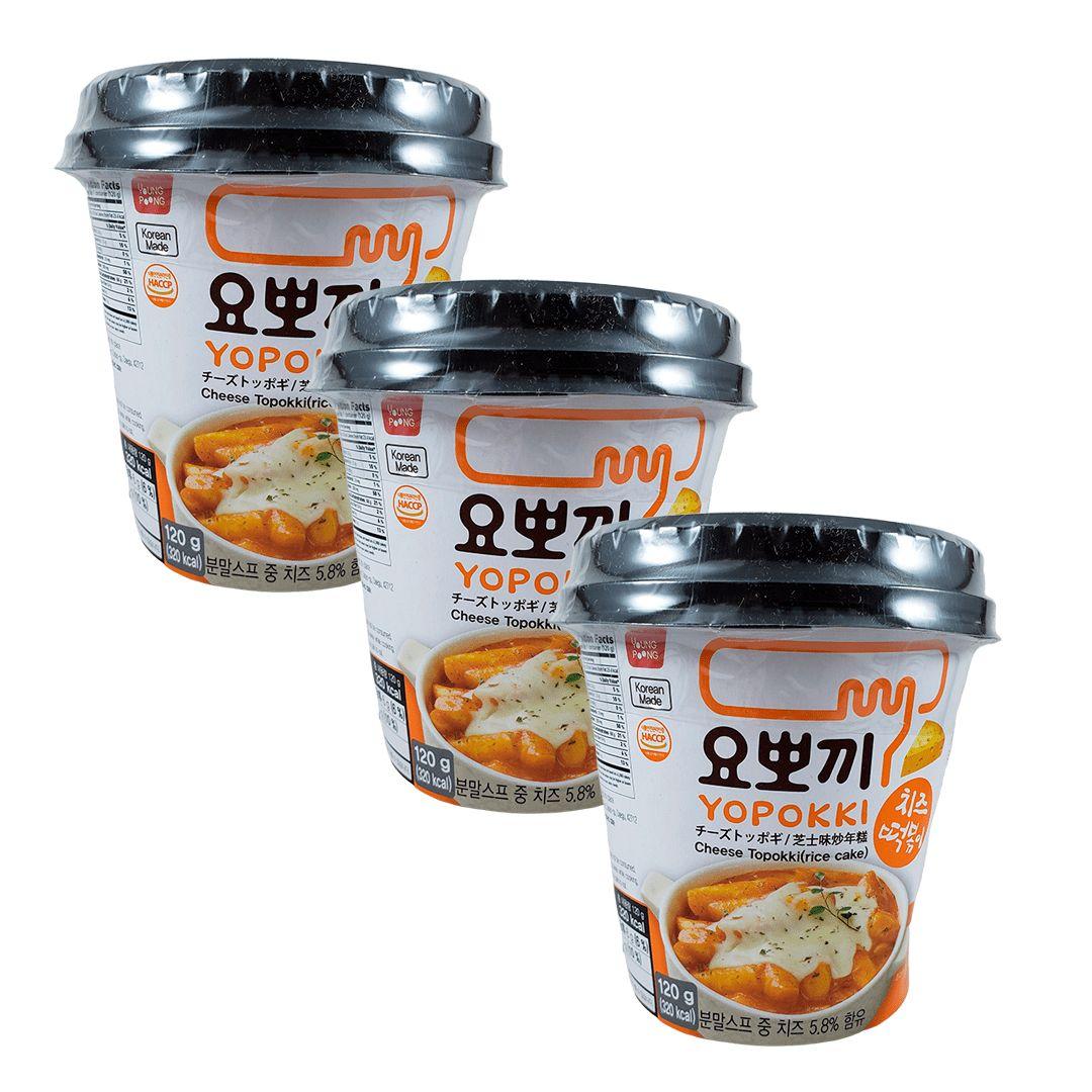 Topokki Bolinho de Arroz Coreano Queijo Cheese Kit com 3