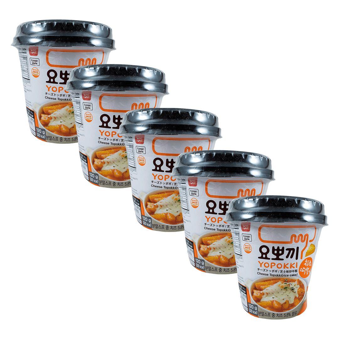 Topokki Bolinho de Arroz Coreano Queijo Cheese Kit com 5