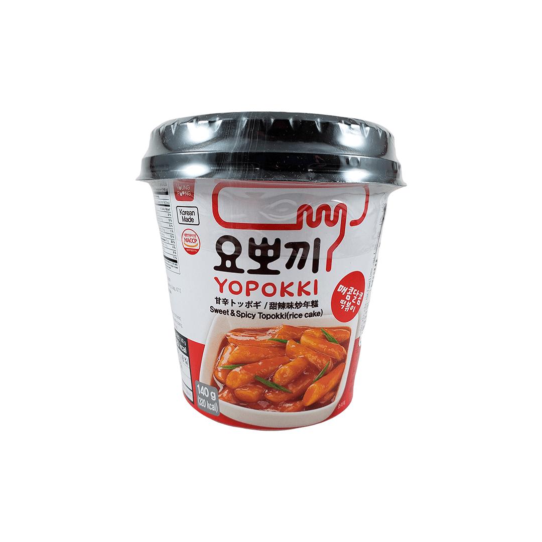 Topokki Bolinho de Arroz Coreano Yopokki Original Adocicado Sweet & Spicy Copo 140g