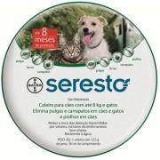 Coleira Antipulgas e Carrapatos Bayer Seresto para Cães e Gatos até 8 Kg