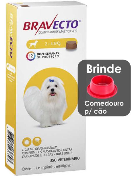 Antipulgas e Carrapatos Bravecto MSD com 1comprimido para Cães até 4,5 kg