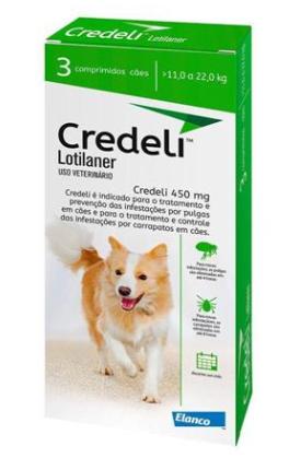Antipulgas e Carrapatos Elanco Credeli para Cães 450 mg de 11 a 22kg com 3 comprimidos