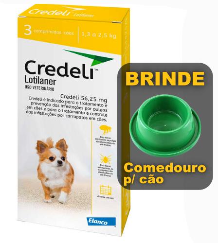 Antipulgas e Carrapatos Elanco Credeli para Cães 56,25 mg de 1,3 a 2,5kg com 1 comprimidos