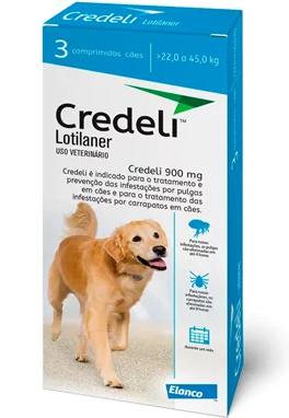 Antipulgas e Carrapatos Elanco Credeli para Cães 900 mg de 22 a 45kg com 1 comprimidos