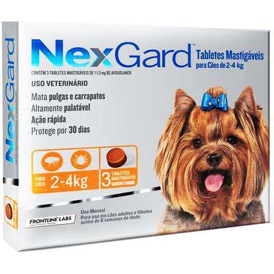 Antipulgas e Carrapatos NexGard para Cães C/ 3 Comprimidos