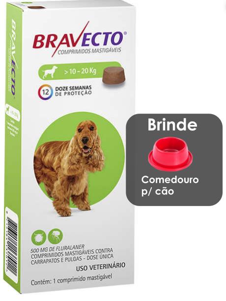 Antipulgas e Carrapatos MSD Bravecto com 1 comprimido para Cães de 10 a 20 Kg
