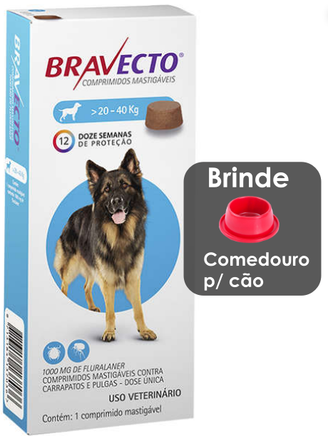 Antipulgas e Carrapatos MSD Bravecto com 1 comprimido para Cães de 20 a 40 Kg