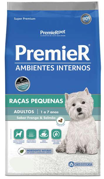 Ração Premier Ambientes Internos para Cães Adultos Sabor Frango e Salmão
