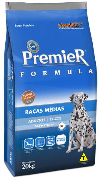 Ração Premier Cães Adultos Raças Médias Frango 20kg