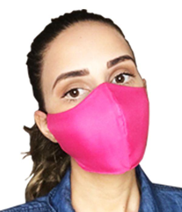 Máscara de tecido Tactel (microfibra) com duas camadas de proteção.