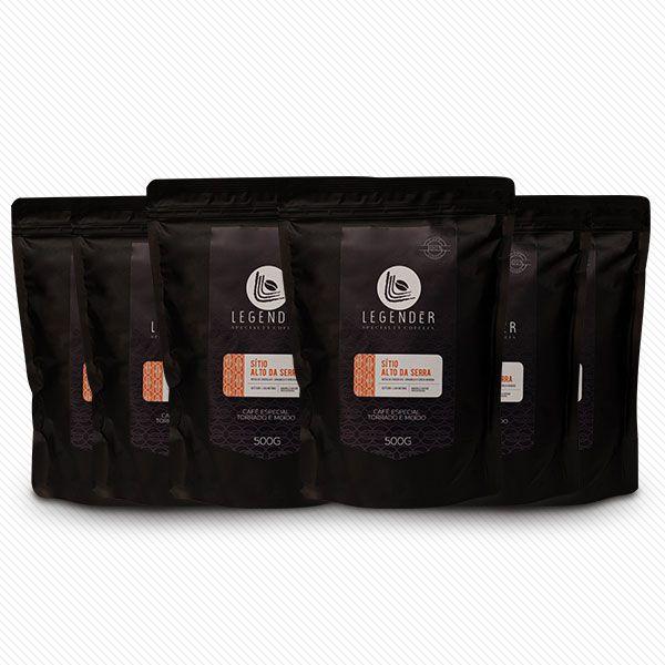 CAFÉ ESPECIAL LEGENDÉR TORRADO E MOÍDO - 500g - SÍTIO ALTO DA SERRA - 6 Unidades