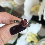 Anel de Prata 925 agata gota vermelho com marcassita