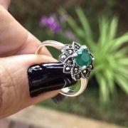 Anel de Prata 925 Agata Verde com Marcassita