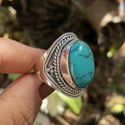 Anel de Prata 925 Bali Howlita Turquesa Oval