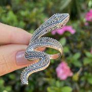 Anel de Prata 925 Cobra Envelhecida com Marcassita