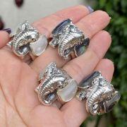 Anel de Prata 925 Elefante com Pedra