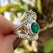 Anel de Prata 925 Pedra Ágata Verde Redondo