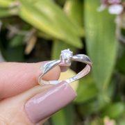 Anel de Prata 925 Solitário Liso Fininho Cristal