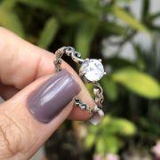 Anel de Prata 925 Solitário Trabalhado Zircônia Cristal