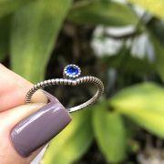 Anel de Prata 925 Solitário Zircônia Azul