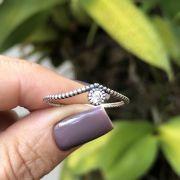 Anel de Prata 925 Solitário Zircônia Cristal Envelhecido