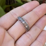 Anel de Prata 950 Aparador de Aliança Artena Envelhecido