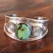 Bracelete de Prata 925 Aspiral e Pedra Natural