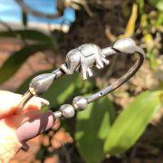 Bracelete de Prata 925 Detalhes Elefante de Encaixe