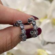 Brinco de Prata 925 Argola Envelhecida Cravejada Cristal
