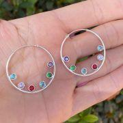 Brinco de Prata 925 Argola Multicolorida