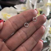 Brinco de Prata 925 Circulo Fio Quadrado 0,6cm