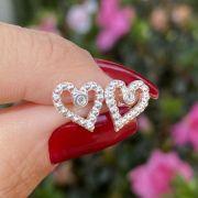 Brinco de Prata 925 Coração Bolinha Vazado Zircônia Cristal