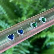 Brinco de Prata 925 Coração Colorido