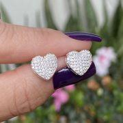 Brinco de Prata 925 Coração Cravejado Zircônia 1cm