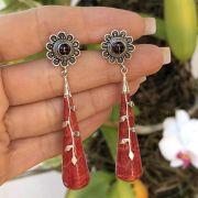 Brinco de Prata 925 Coral Base Flor Murano Vermelho